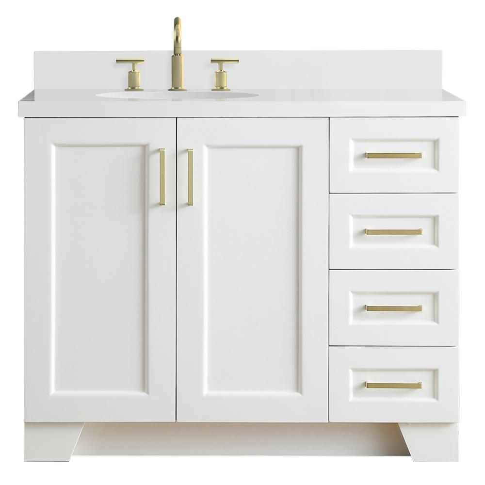 Ariel Taylor 43 In W X 22 In D Bath Vanity In White With Quartz