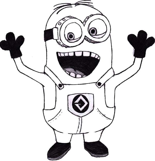 Minion Mark The Minion Is Laughing Coloring Page Mark