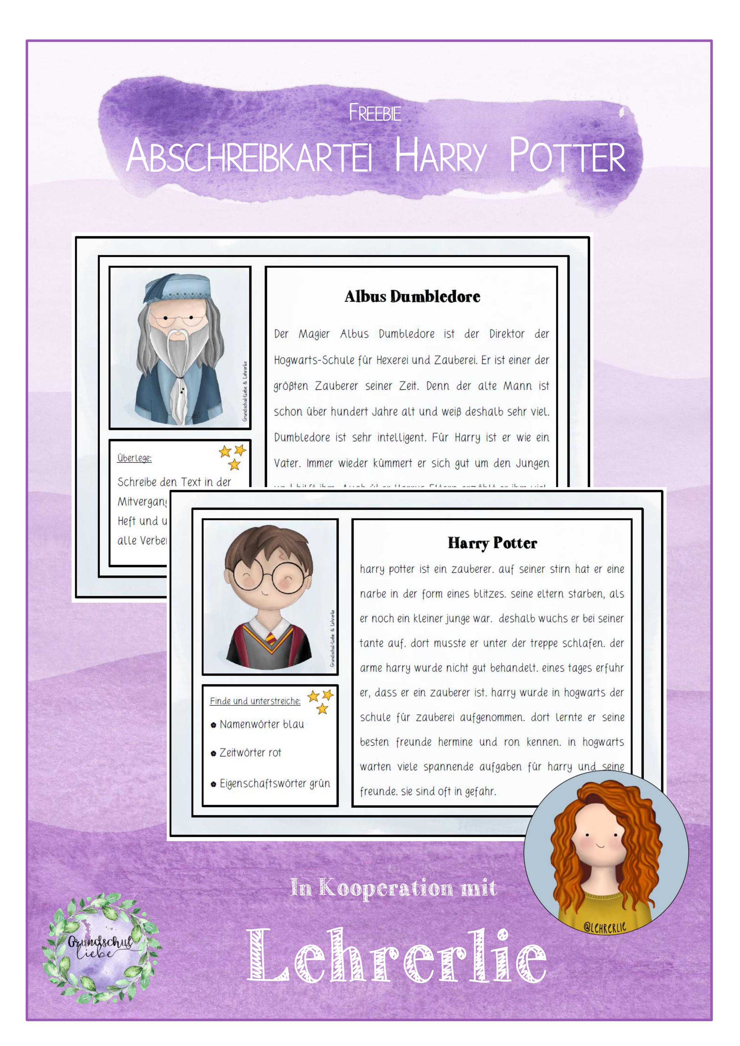 Abschreibkartei Harry Potter Freebie 3 4 Klasse Unterrichtsmaterial Im Fach Deutsch Harry Potter Schule Harry Potter Deutsch Unterricht