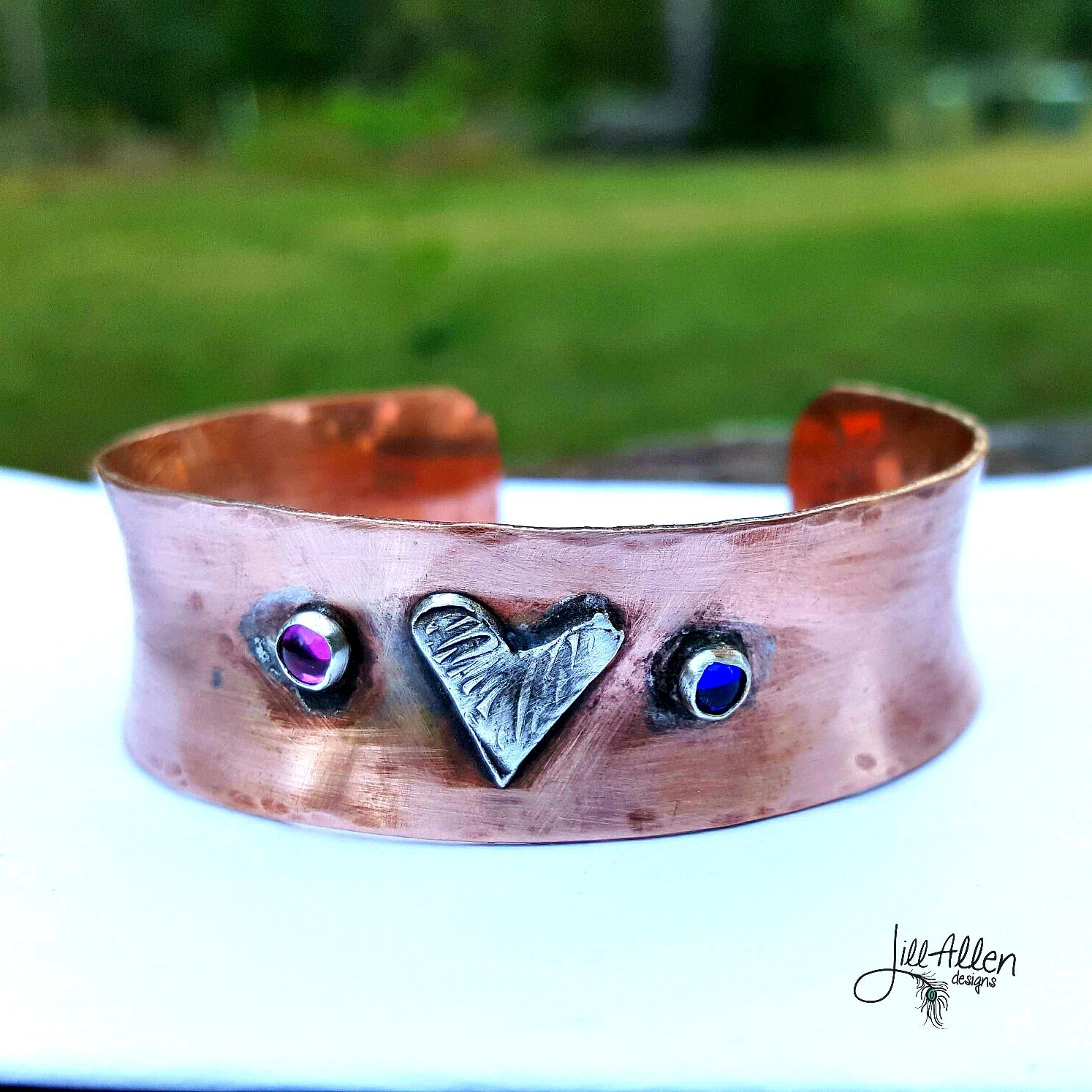 Copper heart cuff jill allen designs hand stamped jewelry