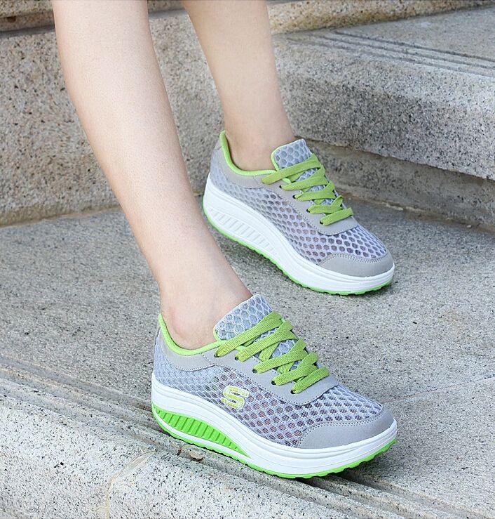 Grey S Letter Pattern Leather Rocker Bottom Shoe Sneaker Rocker Bottom Shoes Fashion Sandals Women Rocker Shoe