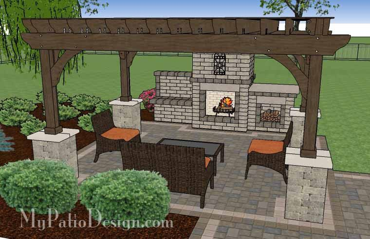 Simple Patio Design With Pergola, Fireplace And Grill Station | 630 Sq Ft |  Download