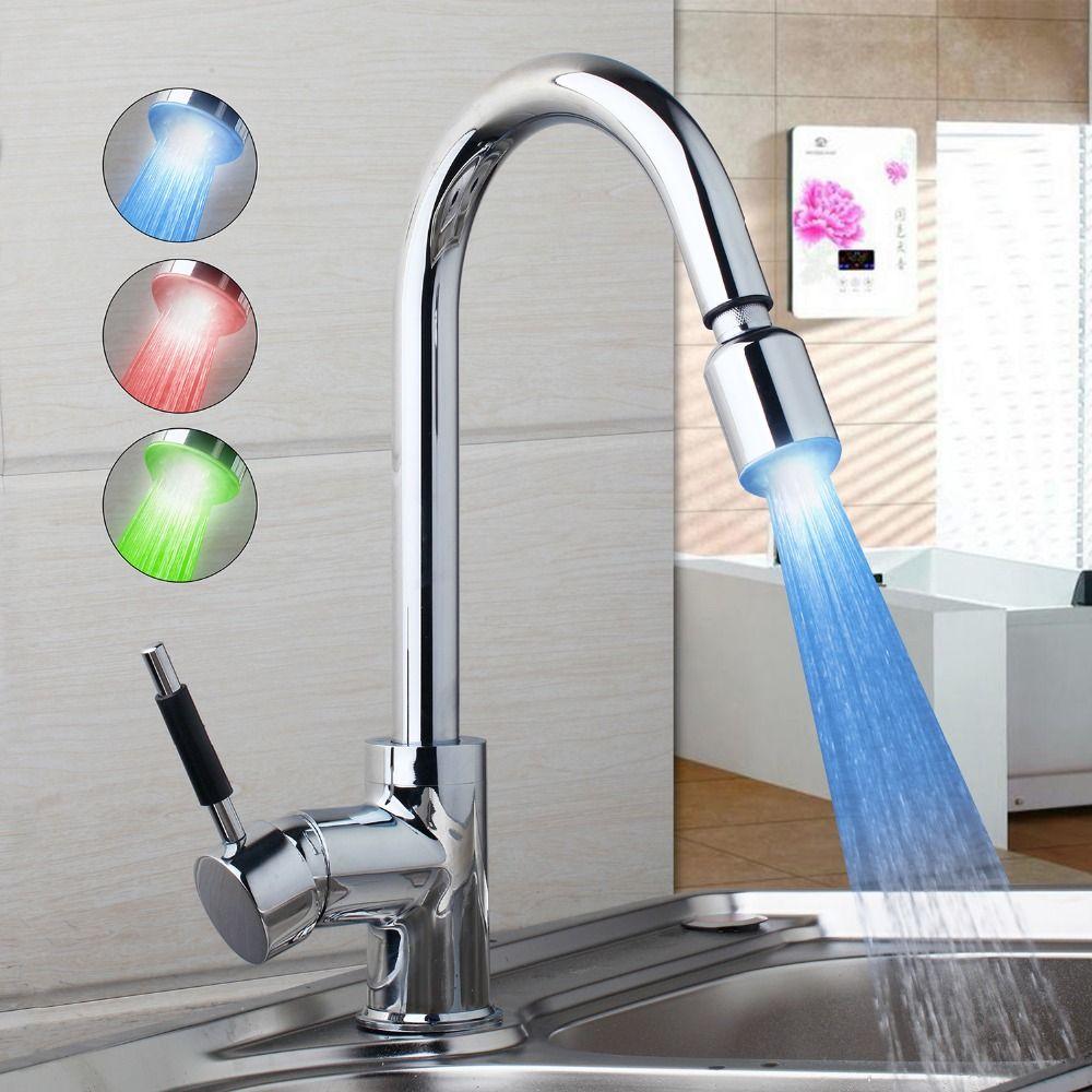 AU LED New Kitchen Faucet Modern Design Chrome Polished