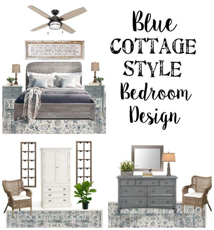 Blue Cottage Guest Bedroom Makeover Plans | http://blesserhouse.com - A before tour and full design plan with sources for a blue cottage style guest bedroom makeover along with a few solutions to work within a small budget.