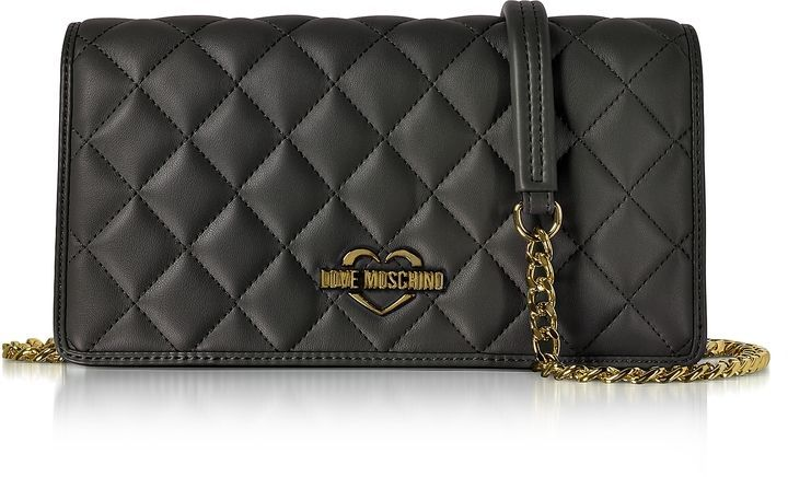 7c7004300f Love Moschino Black Superquilted Eco-Leather Clutch w/Shoulder Strap # commissionlink