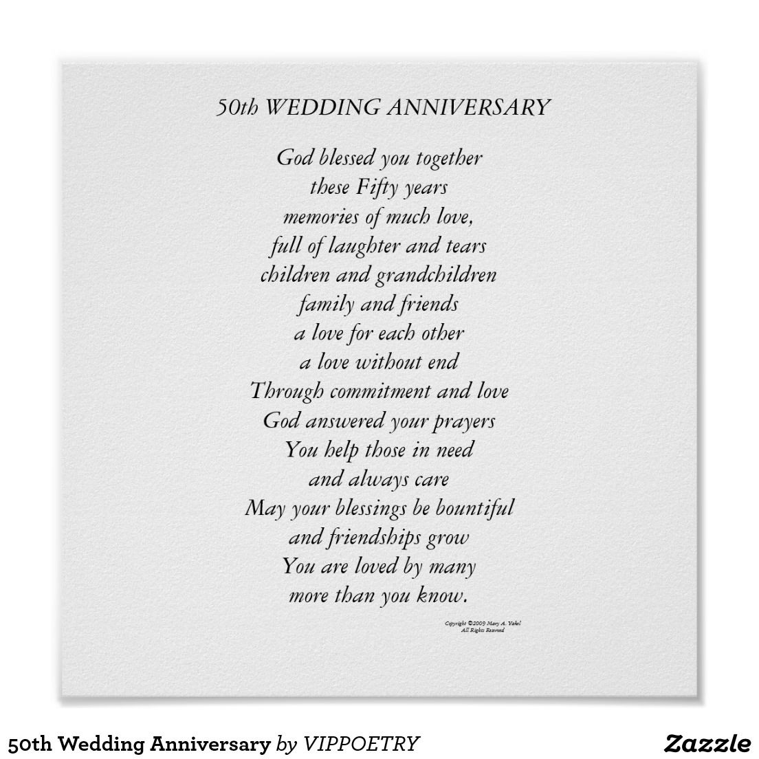 50th Wedding Anniversary Poster Zazzle Com With Images