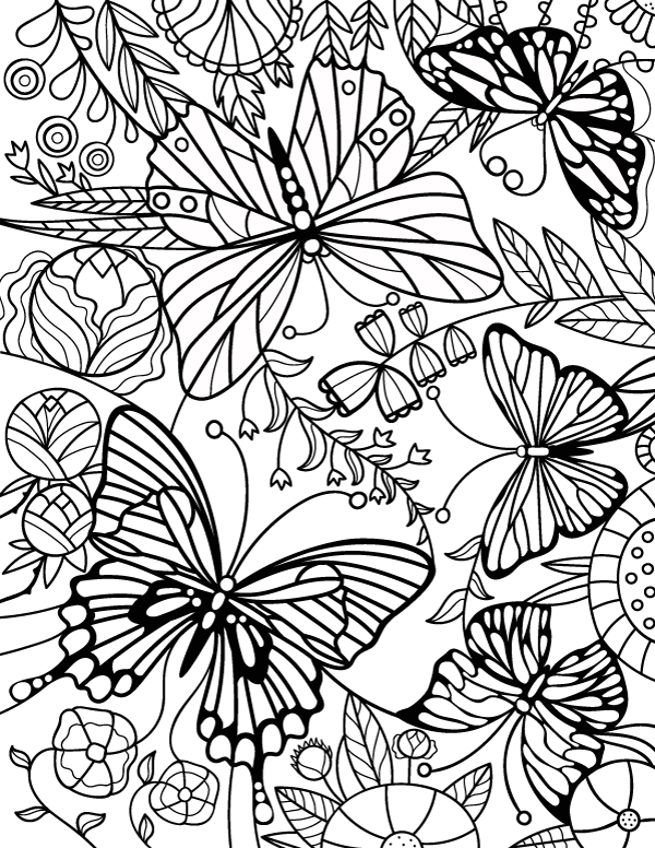 Free Printable Stained Glass Butterfly Adult Coloring Page