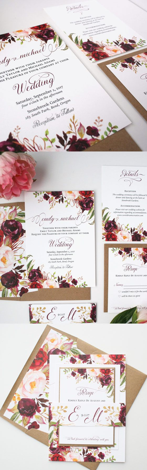 Fall Wedding Invitations - Burgundy & Blush Wedding Invitation Suite ...