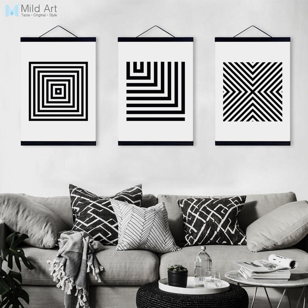 Black white minimalist geometric wooden framed canvas paintings