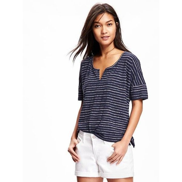 8d992f90 Old Navy Split Neck Boyfriend Tee For Women ($15) ❤ liked on Polyvore  featuring tops, t-shirts, blue, fitted v neck t shirts, boyfriend v neck tee,  ...