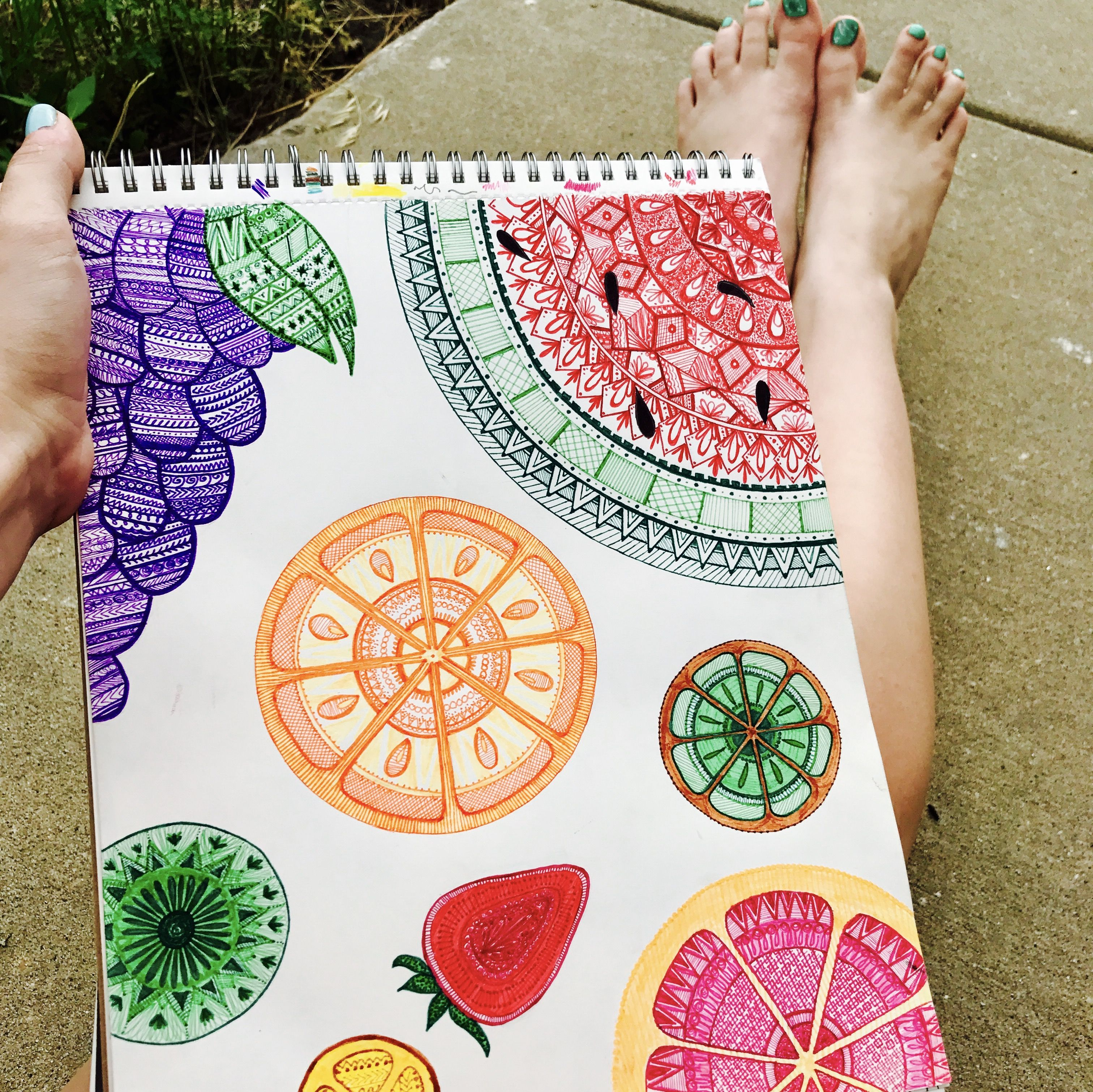 Summer Doodle Fruit Mandala Colorful Drawing Idea Inspiration