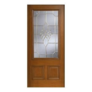 Main Door Mahogany Type Prefinished Cherry Beveled Brass 3/4 Glass Solid Wood Entry Door Slab-SH-556-CH-B at The Home Depot