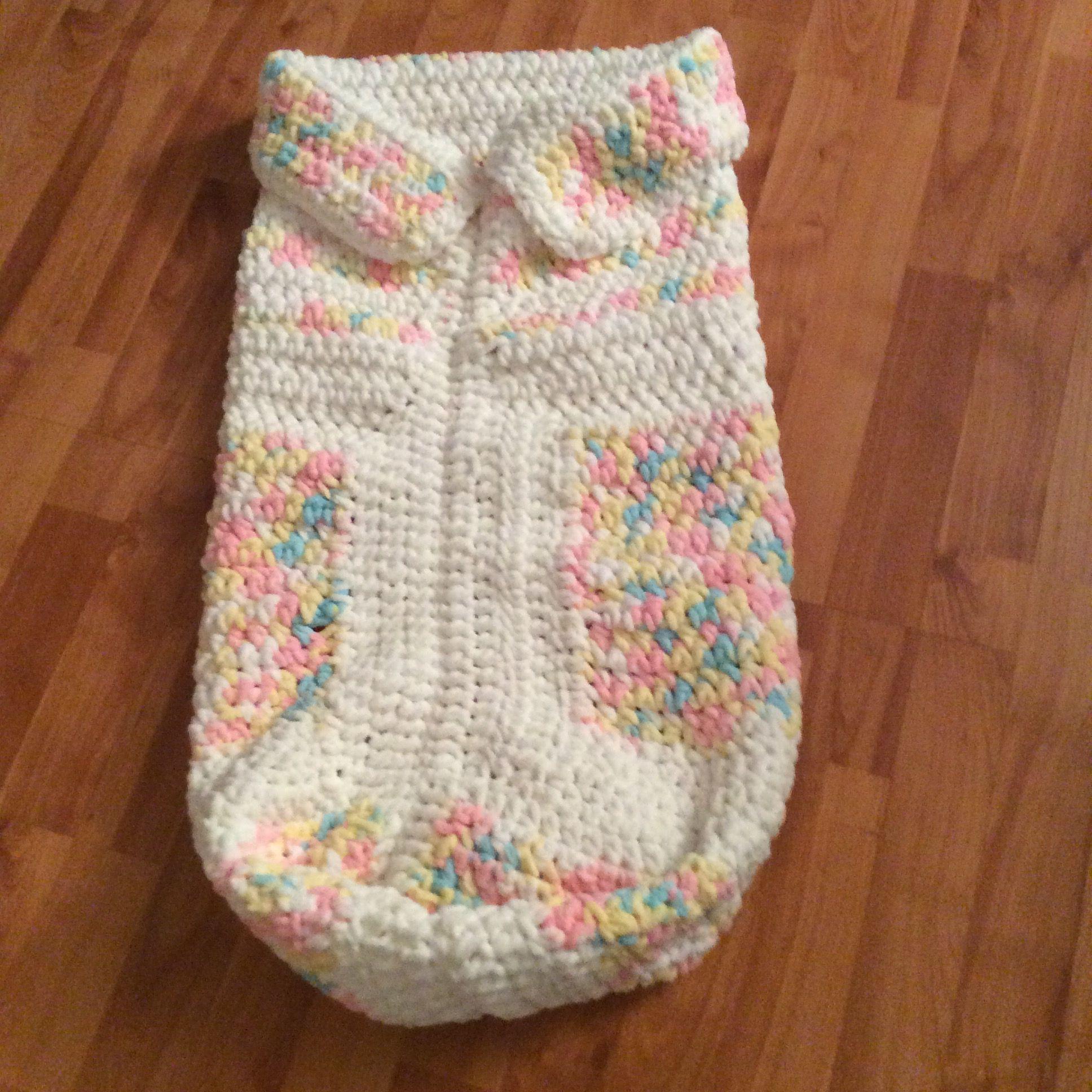 Baby sleeping bag crocheted with Bernat Baby Blanket yarn