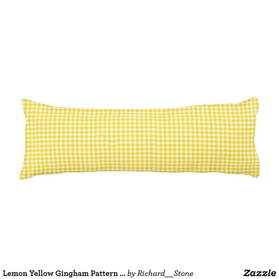 Lemon Yellow Gingham Pattern Body Pillow |  :  Lemon Yellow Gingham Pattern Body Pillow