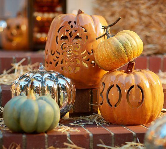 Ceramic pumpkin luminaries from Pottery Barn.  #Halloween #fall  #decorations