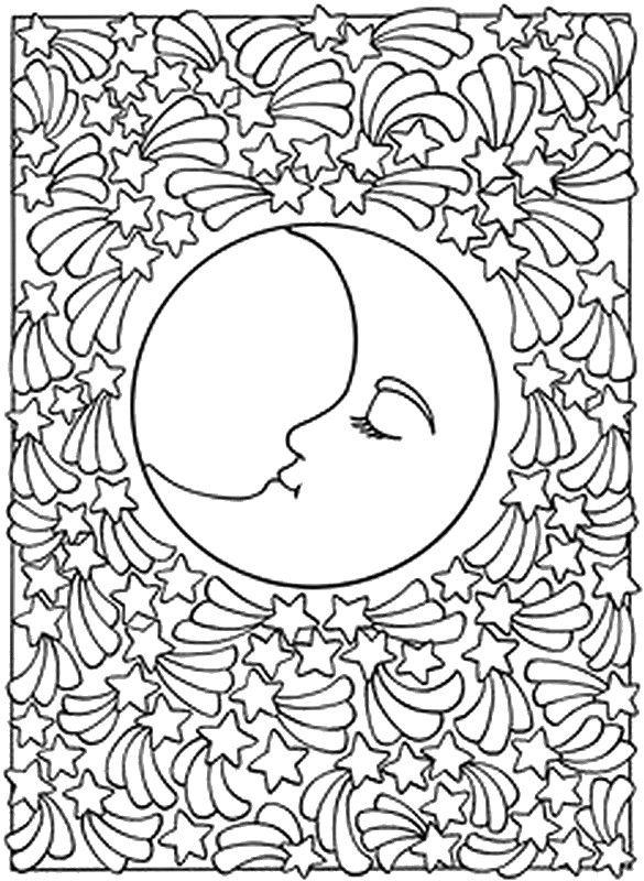 Kleurplaten Ster Mandala.Kleuren Voor Volwassenen Sterren Zon Maan Kleurplaten Lagereschool