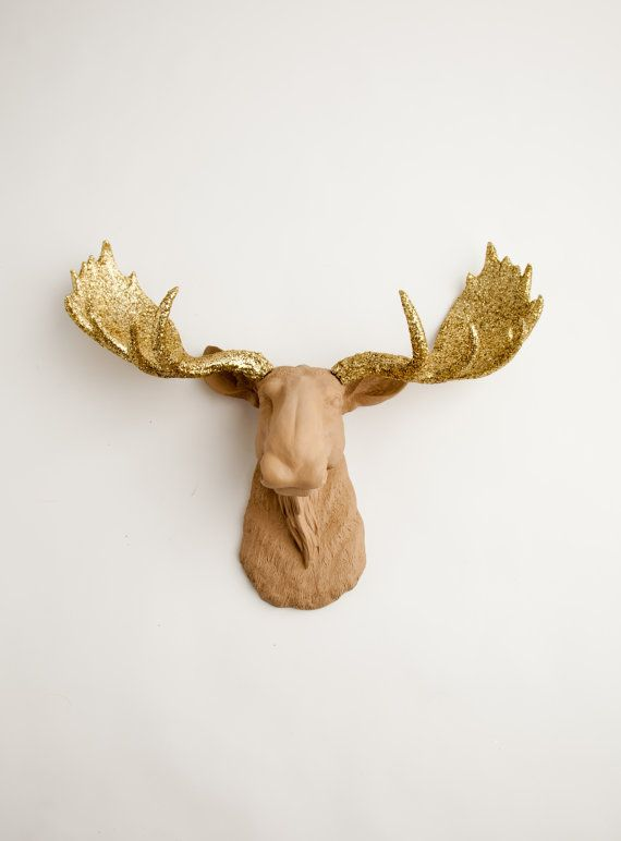 Moose Head Wall Mount - The Oscar - Tan w/ Gold Glitter Antlers Resin Moose Head- Moose Resin Tan Faux Taxidermy- Chic & Charming Home Decor