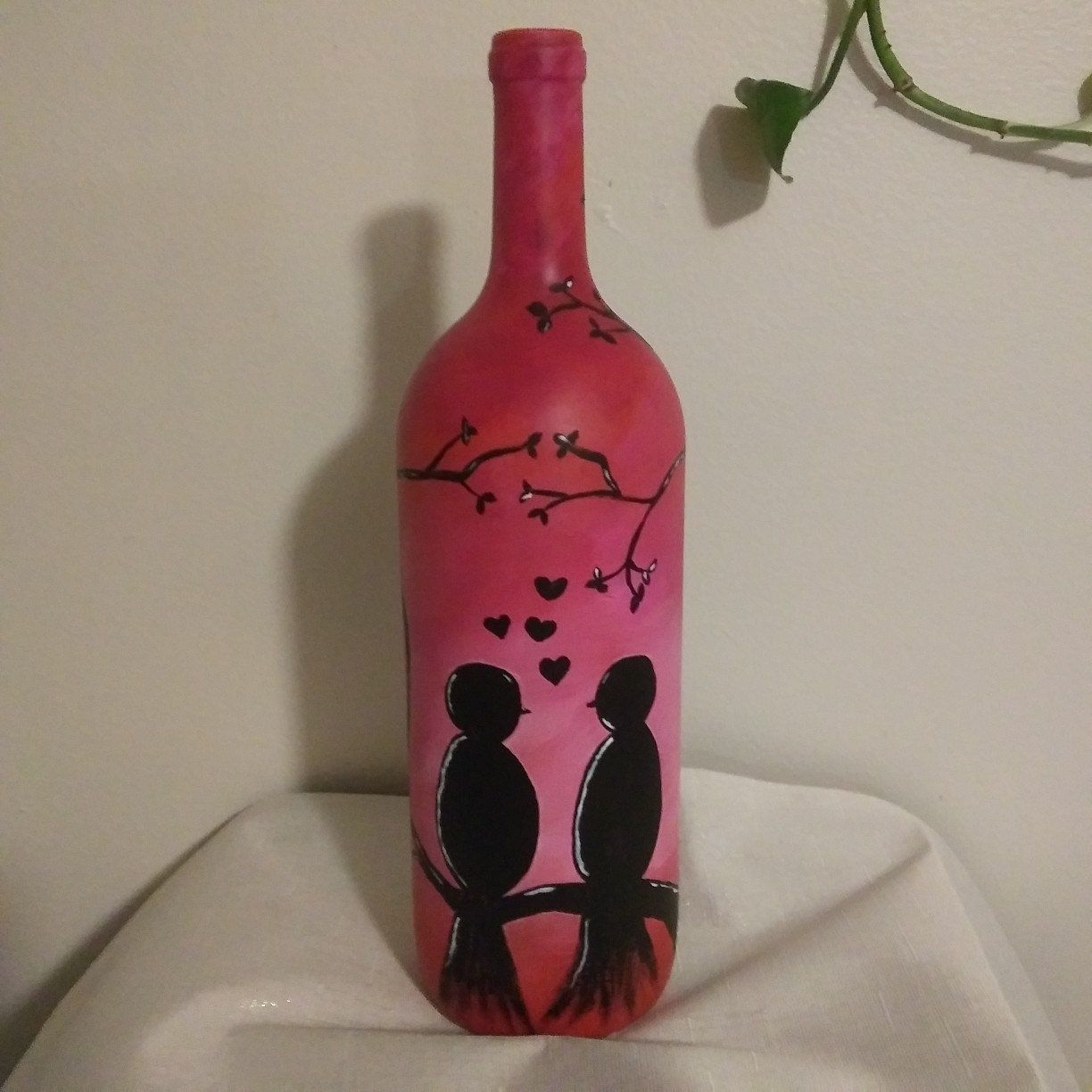 Made To Order With Name Lamp Hand Painted Pinks Black Etsy In 2020 Hand Painted Wine Bottles Bottle Art Projects Hand Painted Necklace