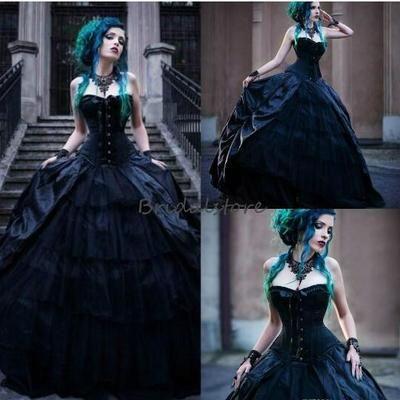 vintage victorian gothic wedding dresses corset strapless