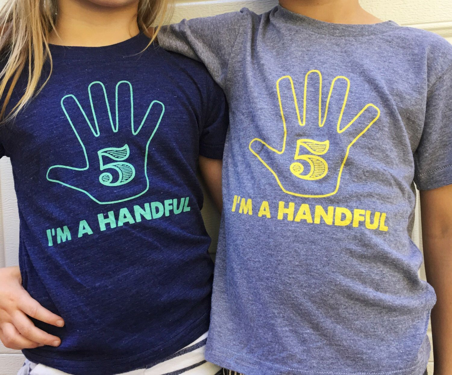 Im A Handful Five Year Old T Shirt 5th Birthday Gift Wear All Soft American Apparel Tee 22