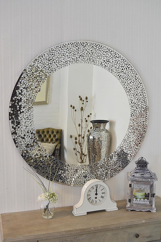 New Contemporary Design Large Round Mosaic Silver Wall Mirror 3ft3