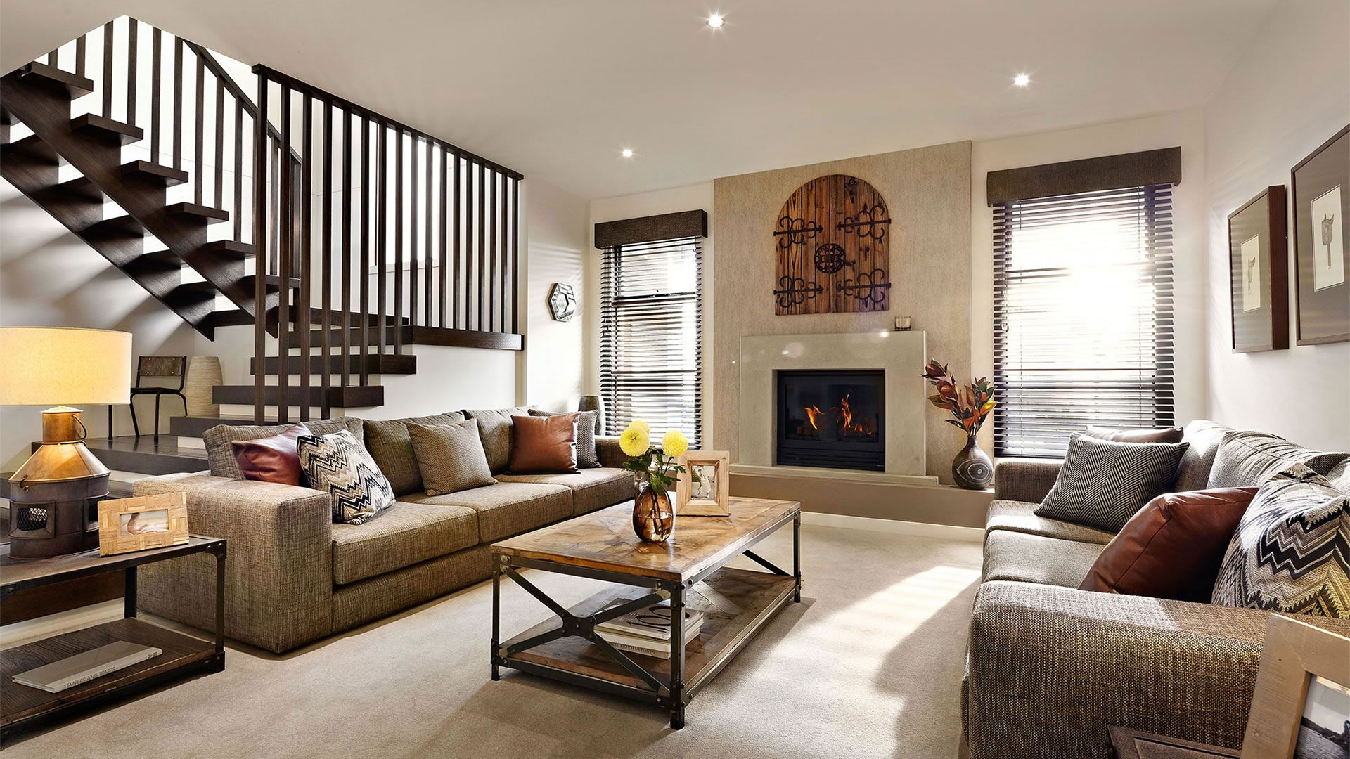Superbe Classy Rustic Living Room Interior With Modern Elements