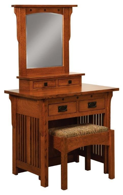 Amish Royal Mission Dressing Table And Bench Mission
