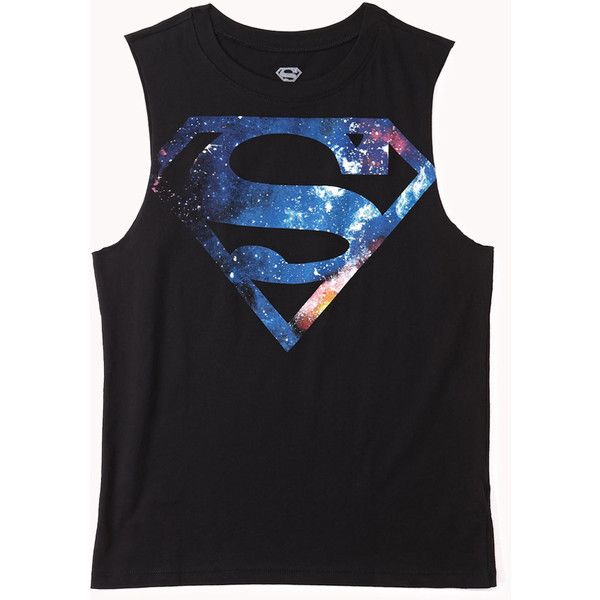 FOREVER 21 Celestial Superman Muscle Tee (47 BRL) ❤ liked on Polyvore featuring tops, shirts, tank tops, blusas, oversized tank, oversized shirts, forever 21 tank, muscle tshirt and muscle tee shirts