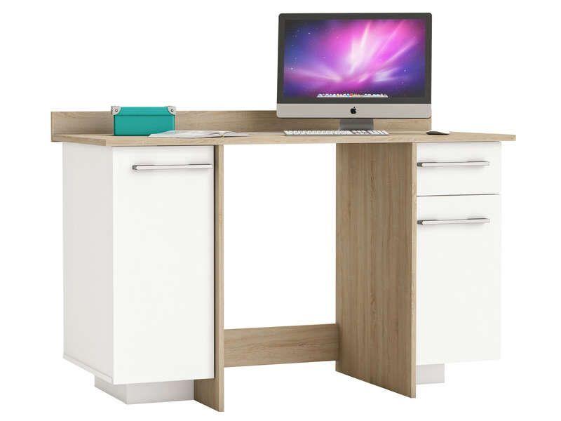 Bureau portes tiroir thales coloris chêne brossé blanc