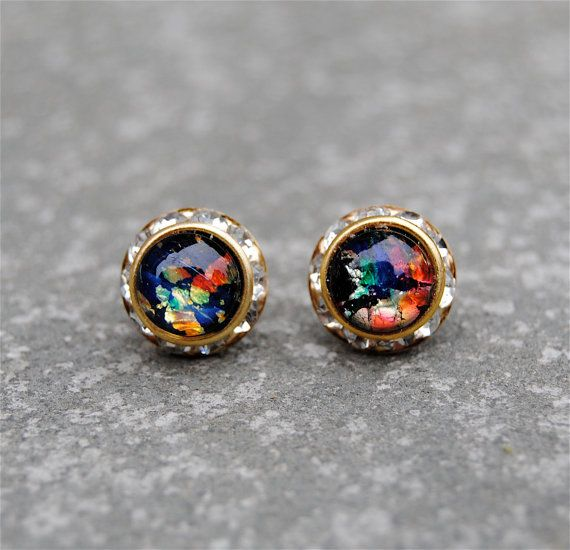 Black Rainbow Opal Diamond Rhinestone Stud Earrings By Mashugana Want