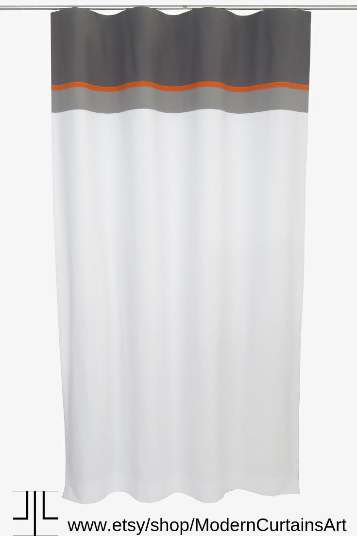 Mid Century Black White Orange Curtains Panels With Lining Mid
