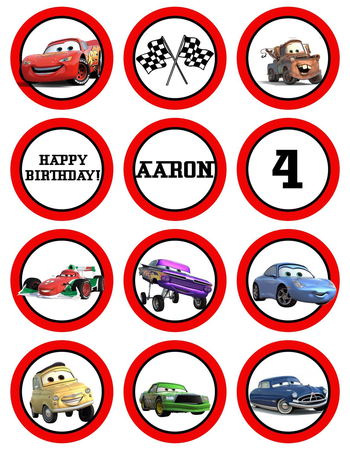 Disney The Cars Printable Birthday Party Cupcake Toppers