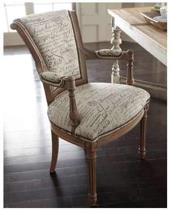 love the french script fabric for chair