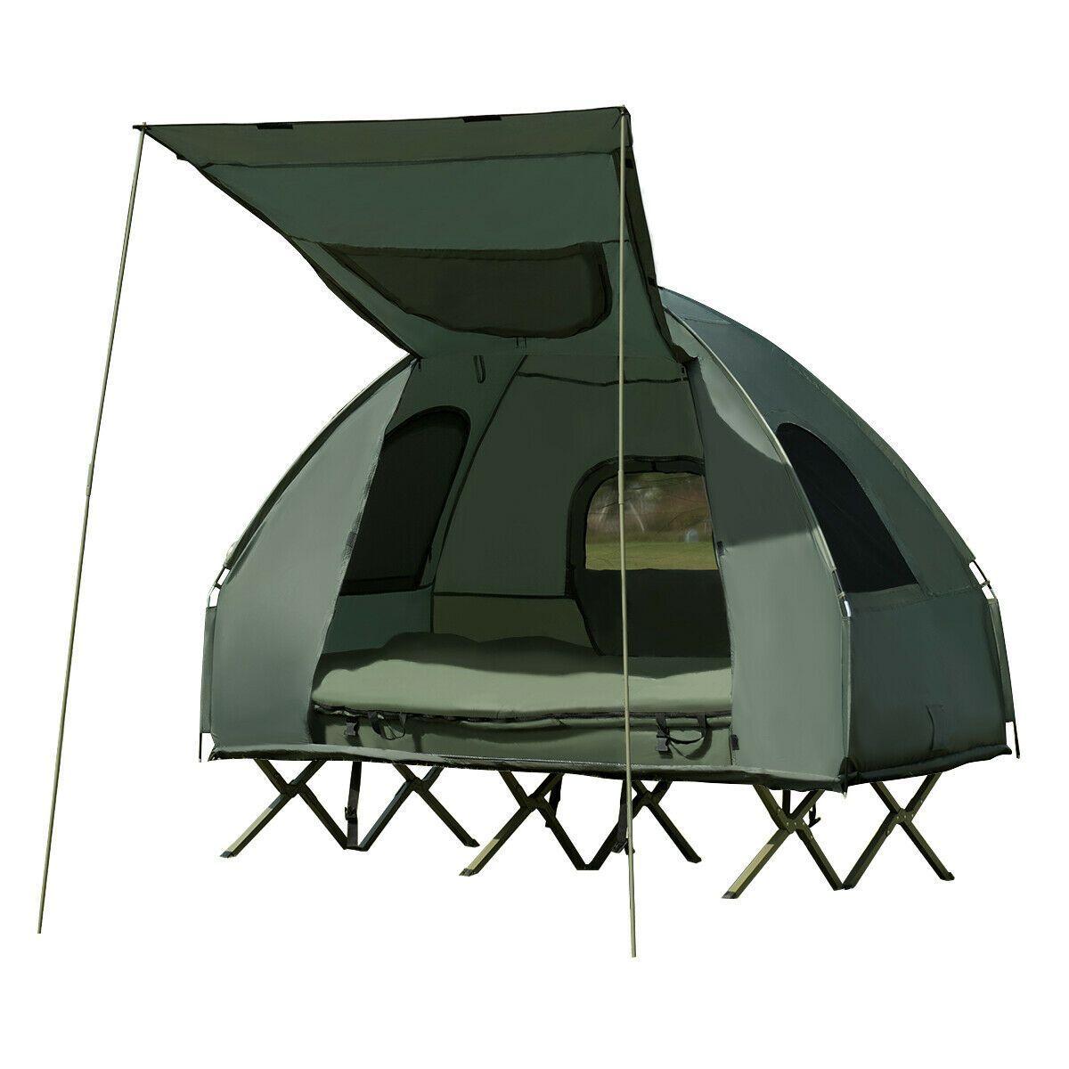 Gymax 2 Person Compact Portable Pop Up Tent Camping Cot W Air Mattress Sleeping Bag Walmart Com Tent Cot Cool Tents Pop Up Tent