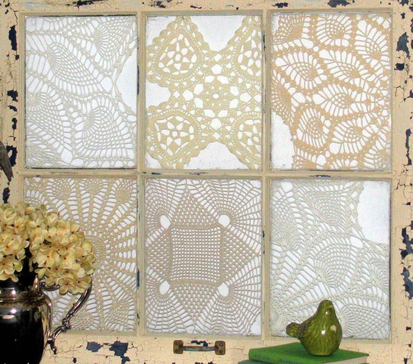 doilies on an old window....love! | For My Vintage Home | Pinterest ...