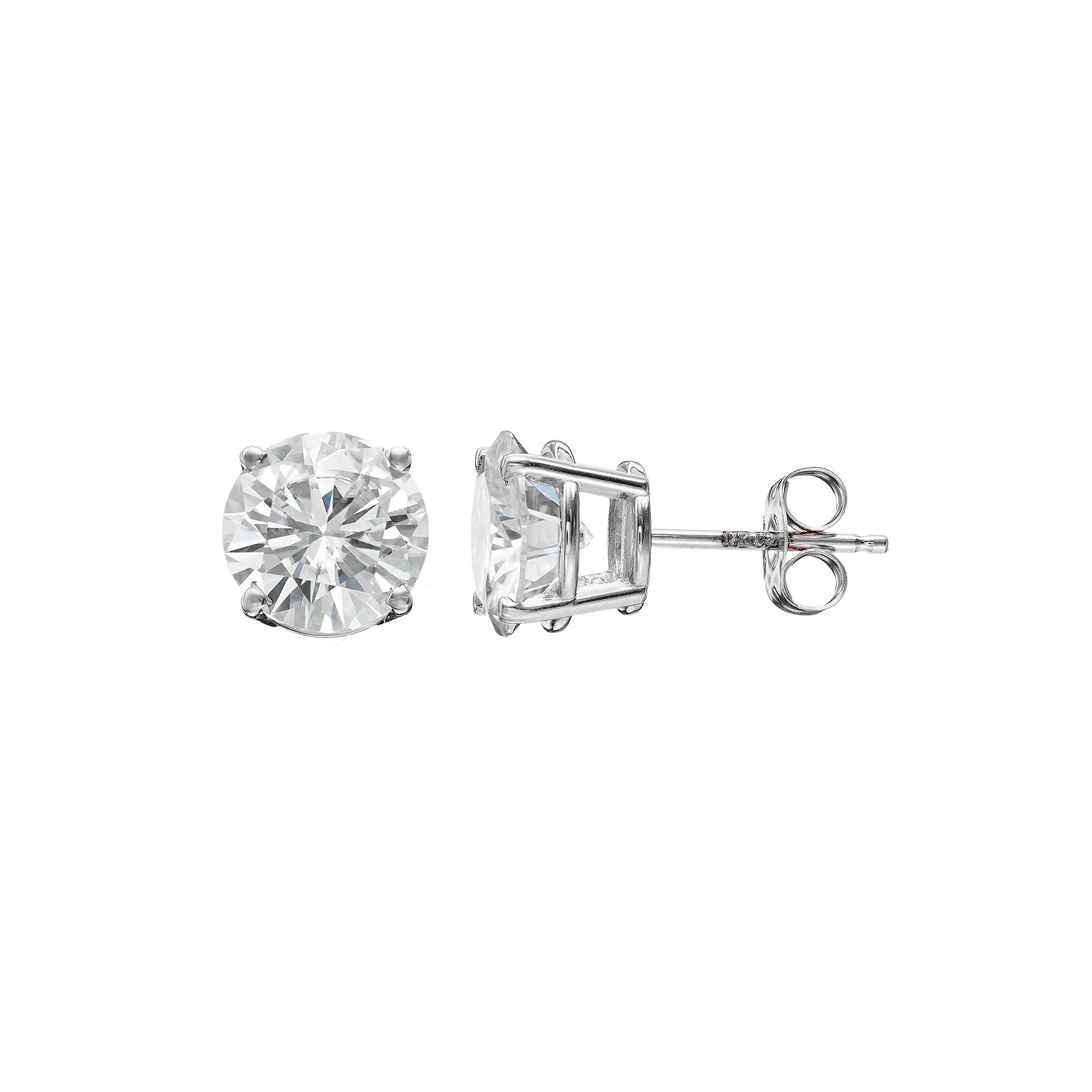 four gold earrings diamond edited white solitaire claw