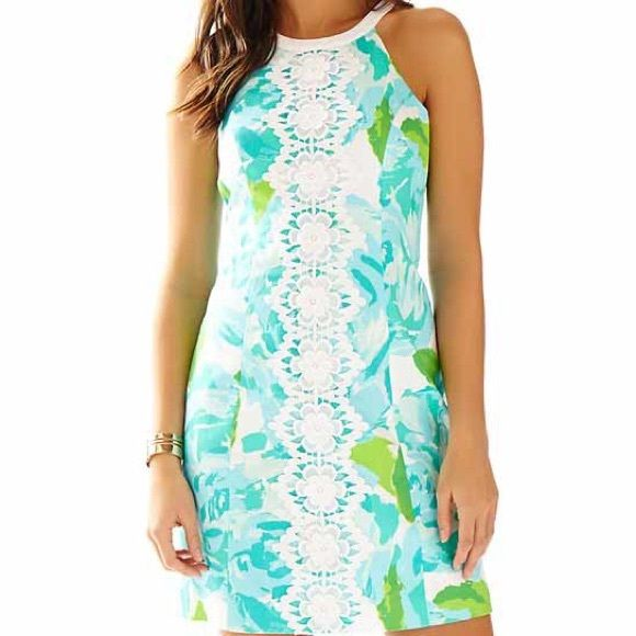 Lilly Pulitzer Shift Dress Pearl Lace poolside blue first impression shift dress. NWT Lilly Pulitzer Dresses