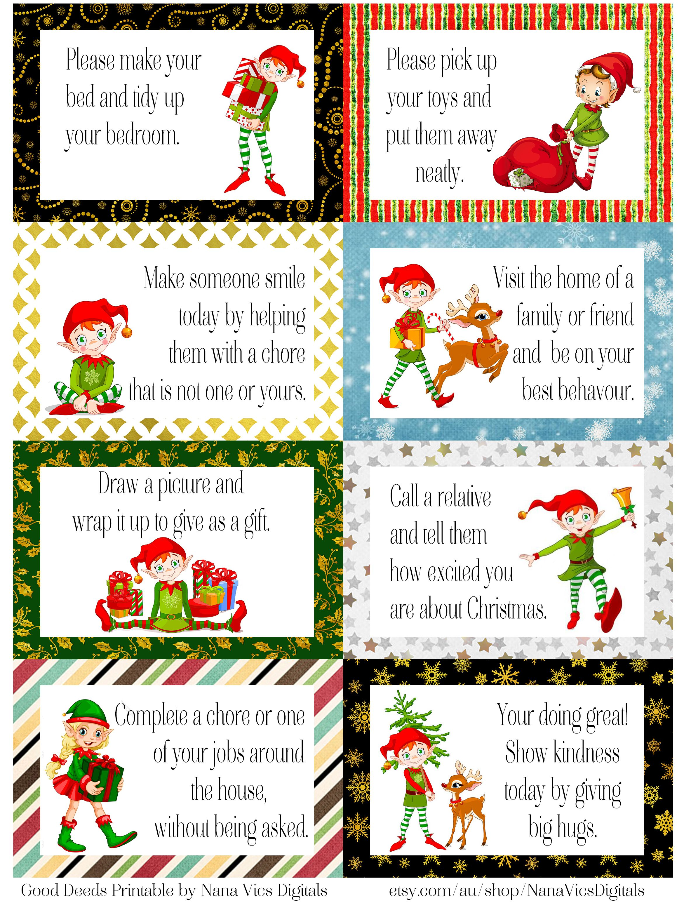 Free Printable Elf Good Deed Cards A4 Enjoy