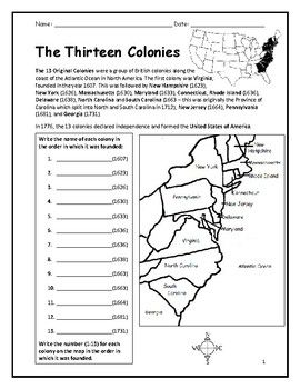 13 Colonies   Printable handout with map   Social studies ...