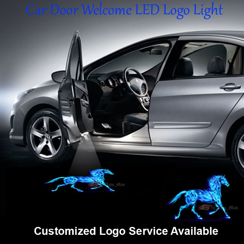 2x Car Door Welcome Laser Projector 3d Blue Flaming Horse Logo Ghost Shadow Puddle Led Light For Ford Musta Girly Car Accessories Car Accessories For Girls Car