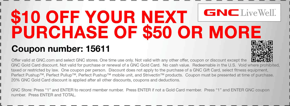 graphic about Gnc Printable Coupons 10 Off 50 referred to as $10+off+$50+at+GNC+dietary+coupon+by means of+The+Discount coupons+Application