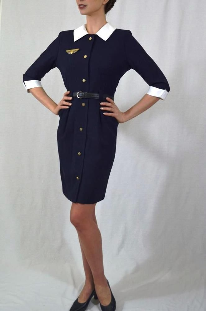Vintage 90\u0027S Air France Concorde Stewardess uniform dress flight