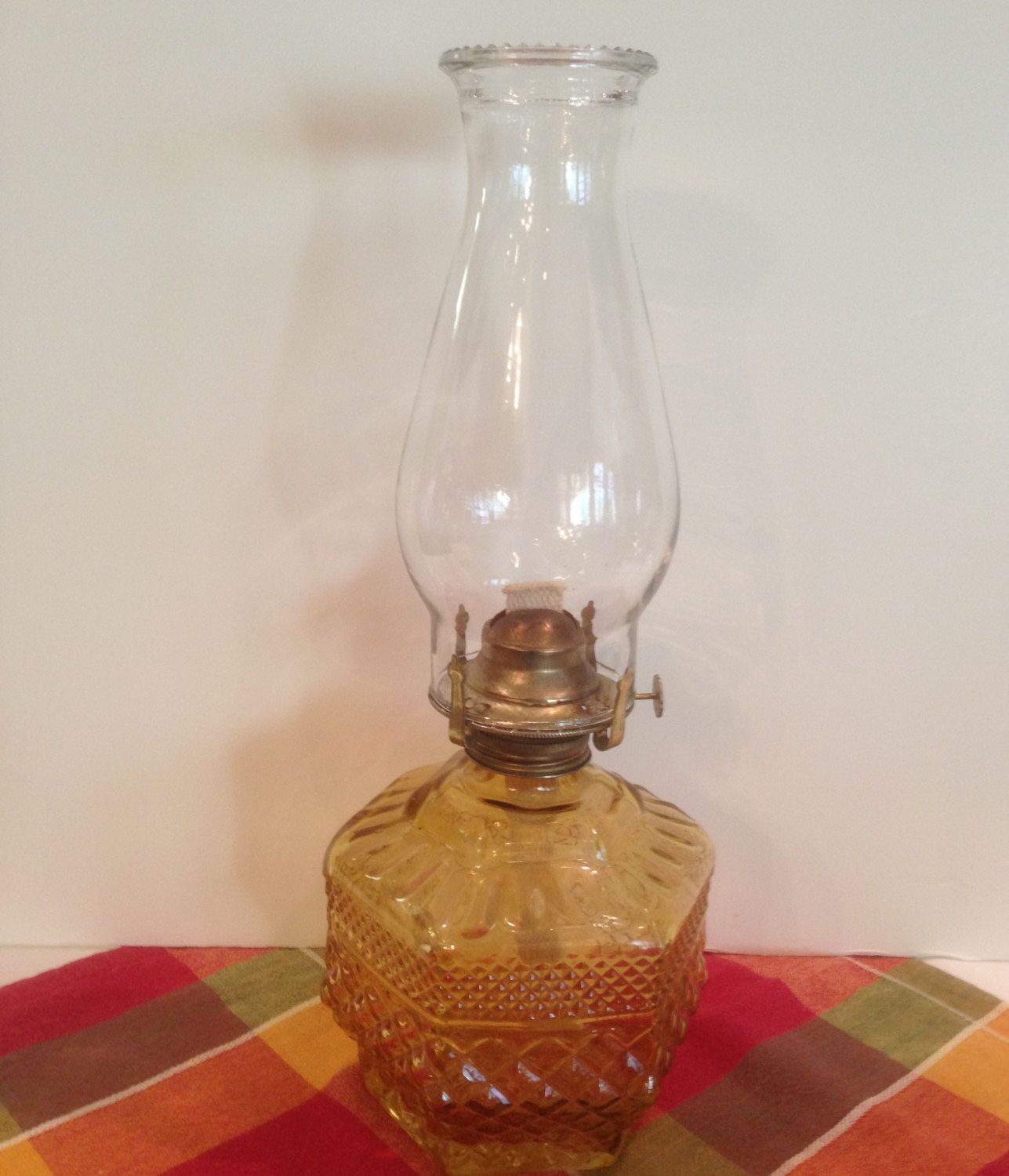 Amber Oil Lamp 6 Sided Diamond Pattern Vintage Collectable