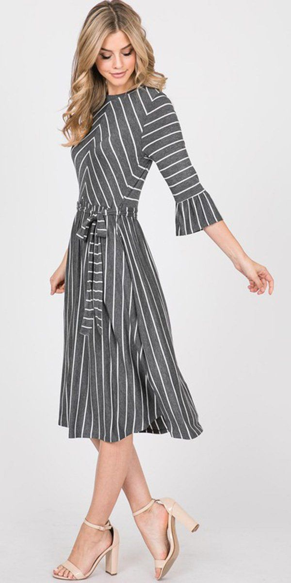 Ana Dress (Gray Stripe)#ana #dress #gray #stripe