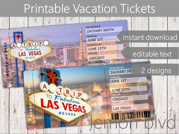 Surprise Vegas Trip Ticket Vacation Tickets Instant Download