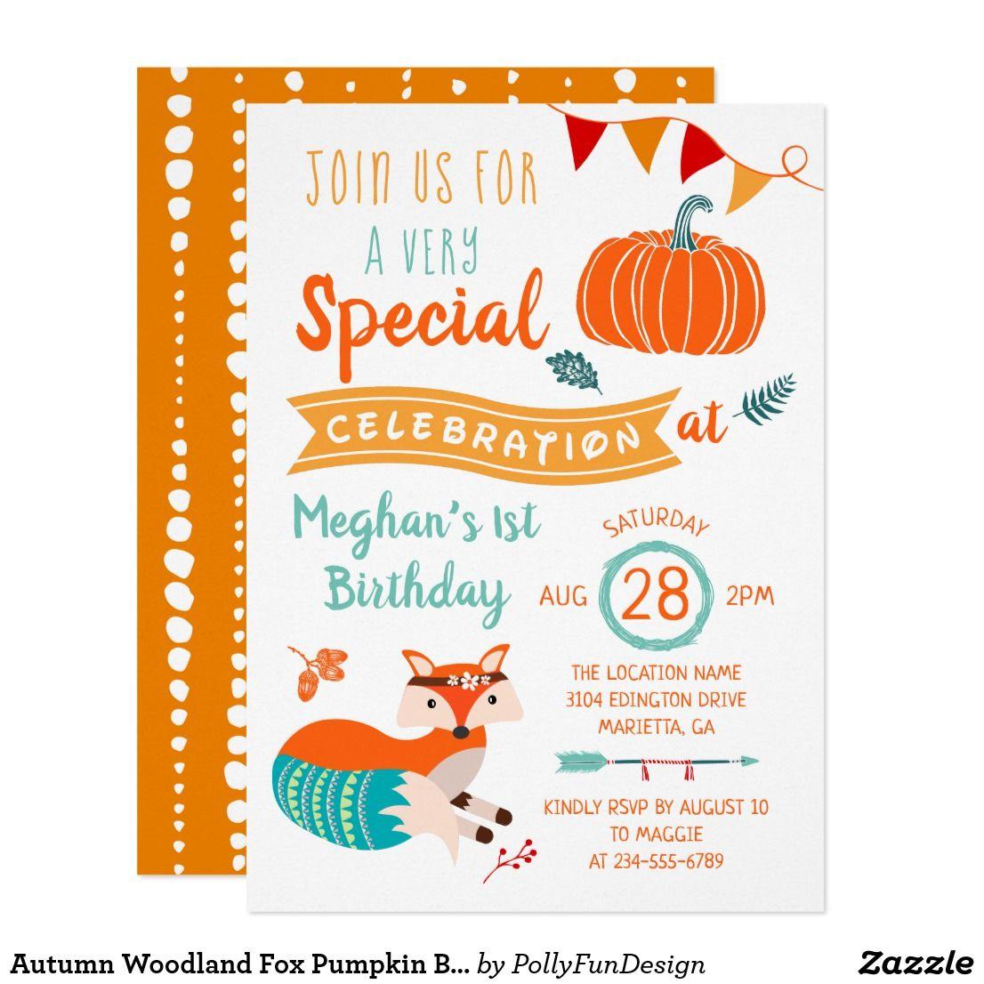 Autumn Woodland Fox Pumpkin Birthday Invitation | { Happy Birthday ...