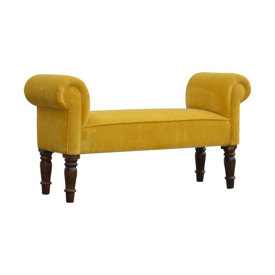 Mustard Yellow Velvet Footstool, Bench, Seat Velvet
