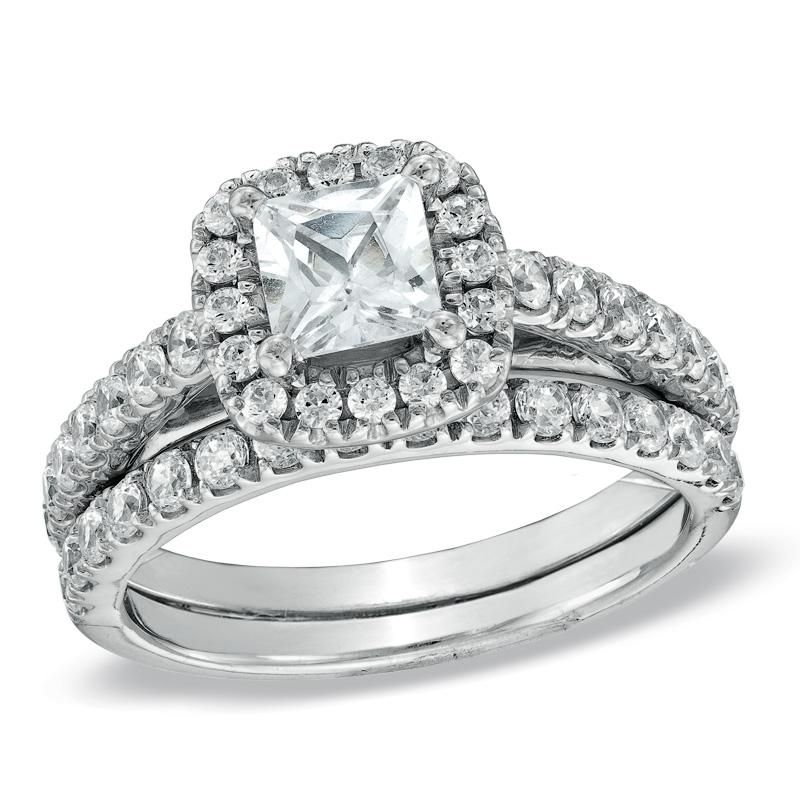 0e879cf0b7b8b 1-3/4 CT. T.W. Princess-Cut Diamond Frame Bridal Set in 14K White ...