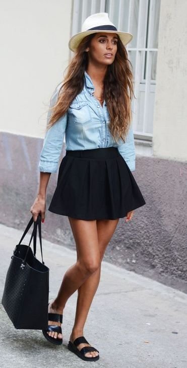 cute casual outfit idea | denim shirt + black skirt + hat ...