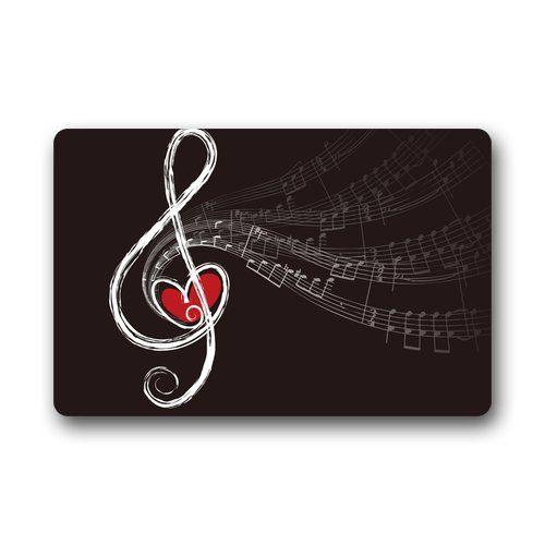 Music Note Heart Non Woven Fabric Bath Mat. Non Slip Backing. More